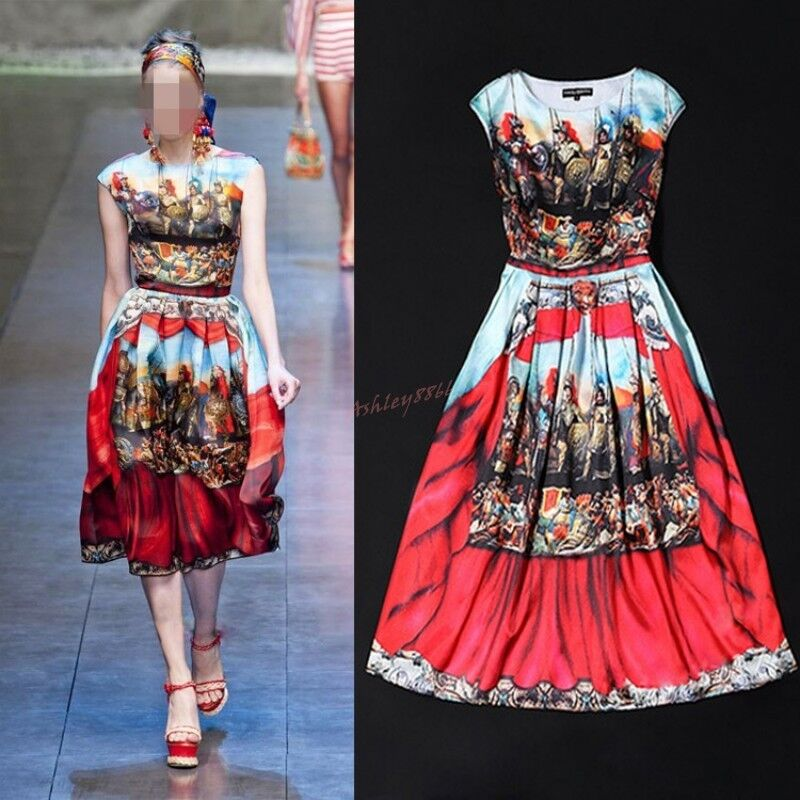 2018 Fashion Occident Runway Printing Silk Sleeveless Mid Long Dress Multi color