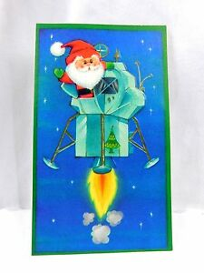 Vintage 1969 Santa Claus Riding In Lunar Moon Lander Hallmark Christmas Card