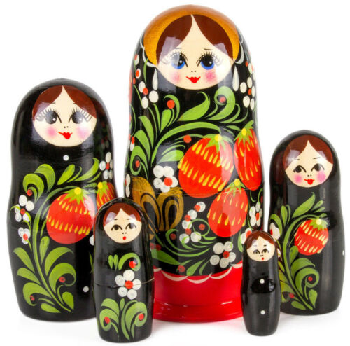 Nesting Dolls w/ Berry Art 5 pcs 6 Russian Doll Matryoshka Hand Painted Russia