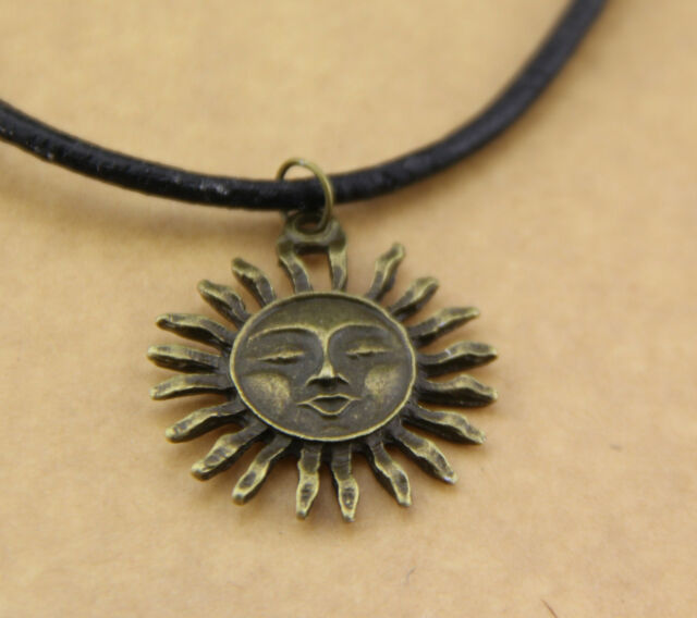 """Hot new Genuine Leather Copper sun Face Necklace Grunge 90s Festival 20"""""""