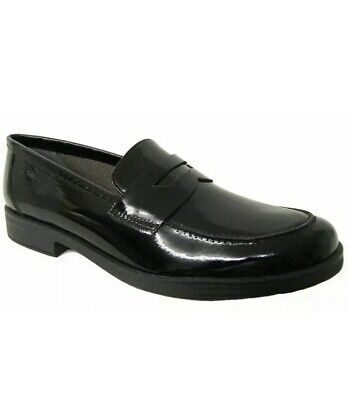 Geox Agata D Black Patent Slip on Leather School Shoes