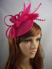 Fuchsia Hot Pink Sinamay Fascinator with Feathers - Occasion Wedding Races