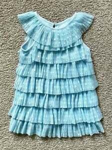 Cat & Jack NWT Fancy Toddler Girls Light Blue Layered Dress sz 2T polka Dots