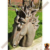Stallion Head Bust Sculpture Horse Statue Garden Outdoor Ornament Bronze