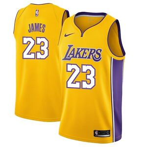 wholesale dealer caead 90f0e Details about New Nike NBA Los Angeles Lakers LeBron James #23 Swingman  Icon Edition Jersey