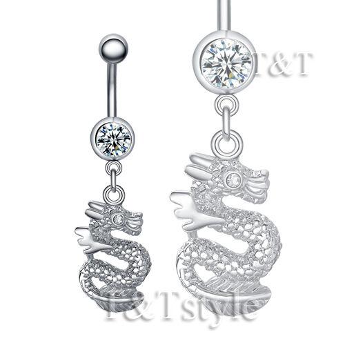 BL52 TT Crystal Dragon Dangle Belly Bar Ring Two Colour Choose