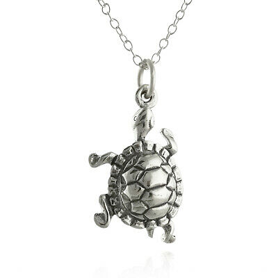 Sterling Silver Womens 1mm Box Chain 3D I Love Turtles Turtle Pendant Necklace