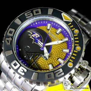 Invicta-Sea-Hunter-GenII-NFL-Baltimore-Ravens-70mm-Steel-Automatic-Watch-New