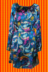 140-Indian-Hippie-Spirit-Gipsy-Satin-Tunika-Kleid-Boho-mit-buntem-Federprint