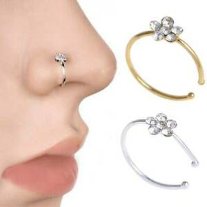 Simple 3x Nose Ring Open Hoop Lip Body Piercing clip on Studs Stainless Jewelry