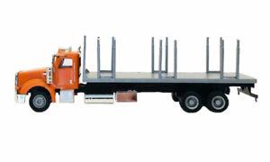 Peterbilt-367-Flatbed-Truck-Orange-w-Stakes-Promotex-1-87-Truck-HO-Scale