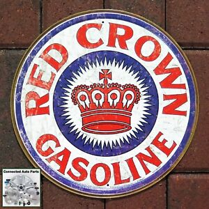 Red Crown Gasoline Round Tin Metal Sign Bar Garage Ad Gas and Oil