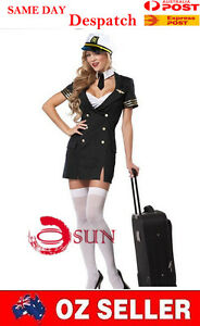 973e7048b20 Details about Women Sexy Black Airline Stewardess Pilot Costume Fancy Dress  Up Halloween 8-12