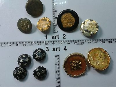 Bene 1 Lotto Bottoni Gioiello Smalti Pietre Vetro Murrine Buttons Boutons Vintage G3