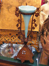 Vase Soliflore en Laiton et Opaline Début XX ème siècle