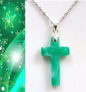 2825fa83d4880 Image is loading Christian-Cross-Natural-Quartzite-Green-Jade-pendant- sterling-