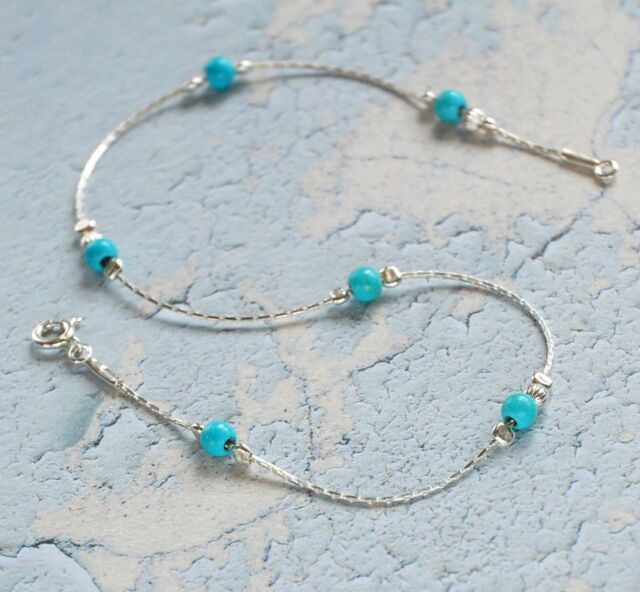 5328cf91a ANKLET blue TURQUOISE Solid 925 Sterling Silver Chain Ankle Bracelet Made  in UK