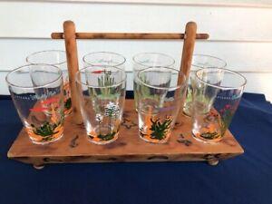 8 Blakely Gas Oil Arizona Cactus Desert Glasses w/ Holder