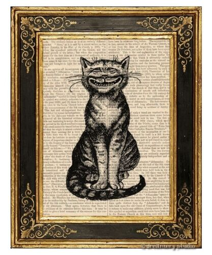 Big Smile Cat Art Print on Vintage Book Page Home Office Wall Hanging Decor Gift