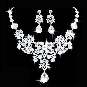 Fashion-Women-Crystal-Choker-Collar-Bib-Necklace-Wedding-Earrings-Jewelry-Set