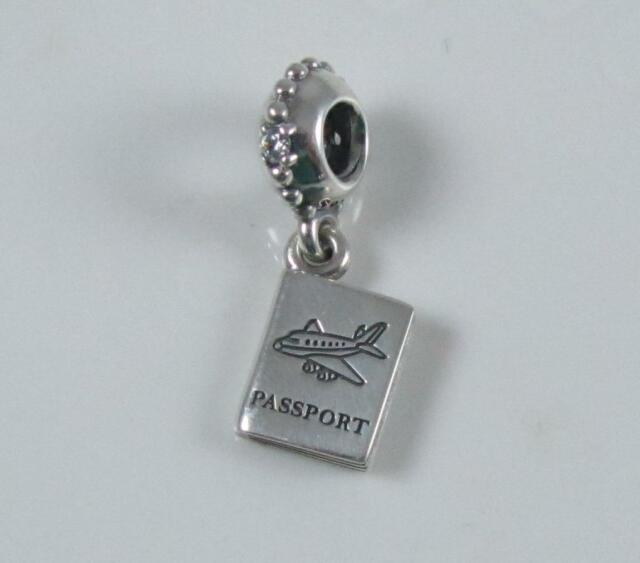 Authentic Genuine Pandora Silver Clear Cz Passport Dangle Bead 791147cz