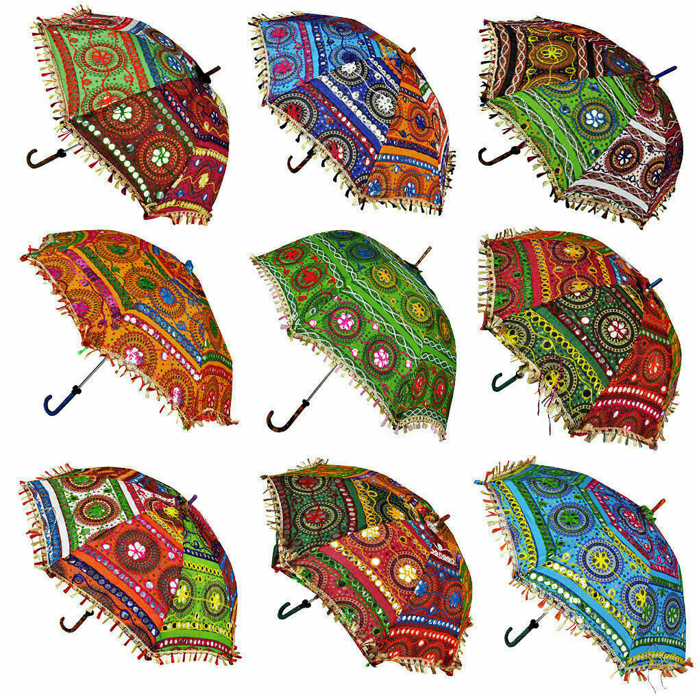 Indian Embroidery Sequence Work Handheld Umbrellas Parasols Wholesale Lot 10pcs