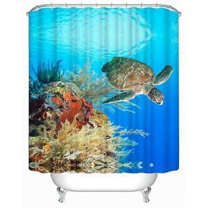 Image Is Loading Giant Sea Turtle Ocean Coral Reef Bathroom Shower