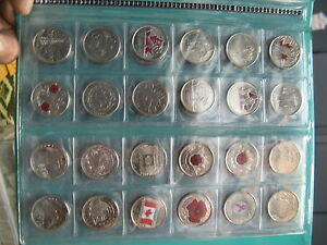 Commemorative-Coins-Canada-25-Cents-Coins-Set-Of-87-Different-Coins-in-Album