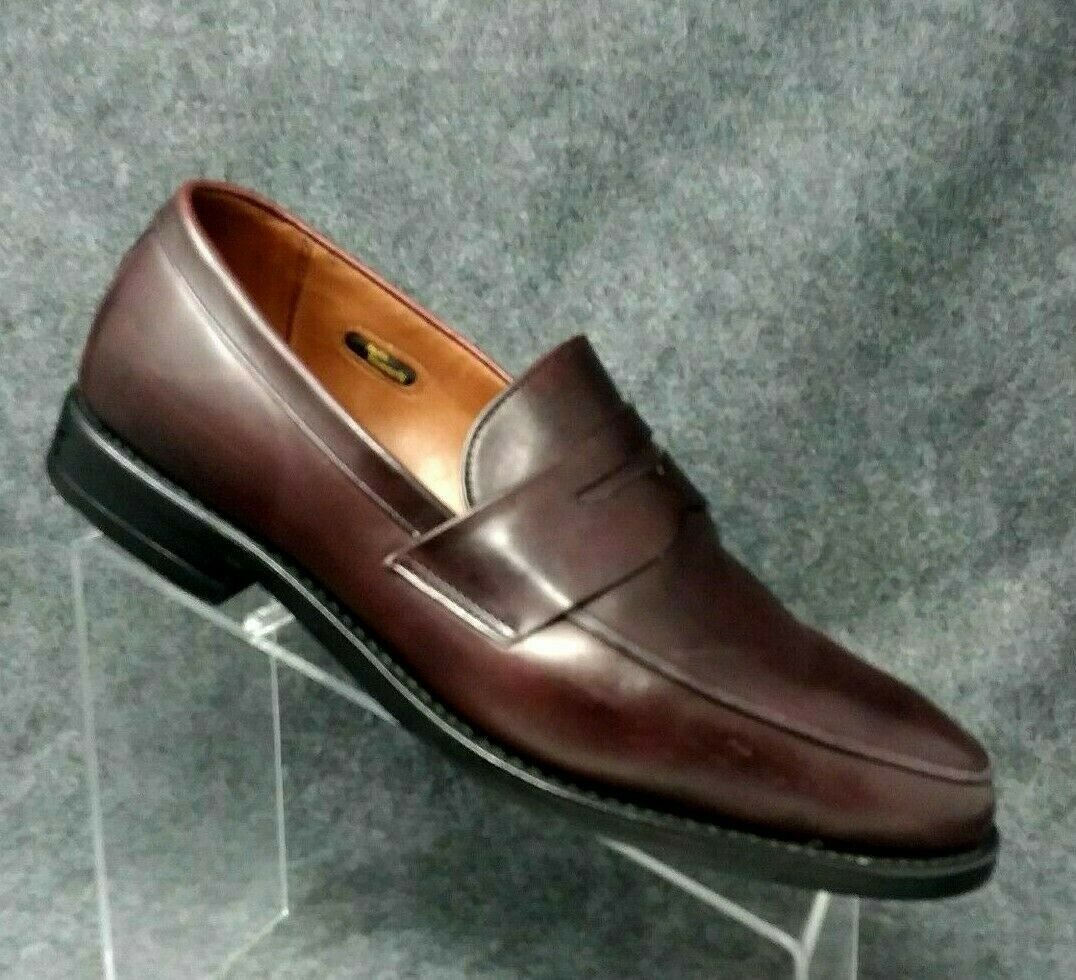 tuttiEN EDMONDS  Presidio Burgundy Leather Penny Loafers Dimensione 7.5 EEE 3E WIDE Sautope classeiche da uomo