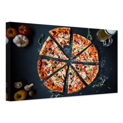 Leinwandbild Italienische Pizza KUNSTDRUCK KEILRAHMEN CANVAS BILD farbecht DEKO
