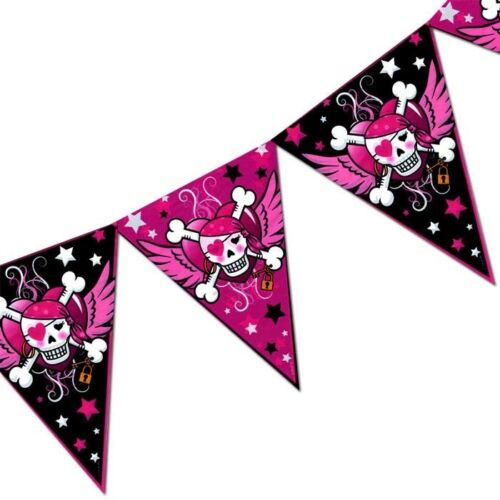 L=6m 1 St. Piratenwimpel Dekokette Piraten Girl-Geburtstag Mädchen