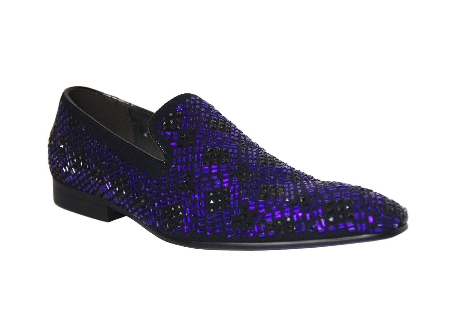 rivenditori online ZOTA UNIQUE UNIQUE UNIQUE Uomo blu nero Crystal Design Fashion Suede Loafers  G6628-24  salutare