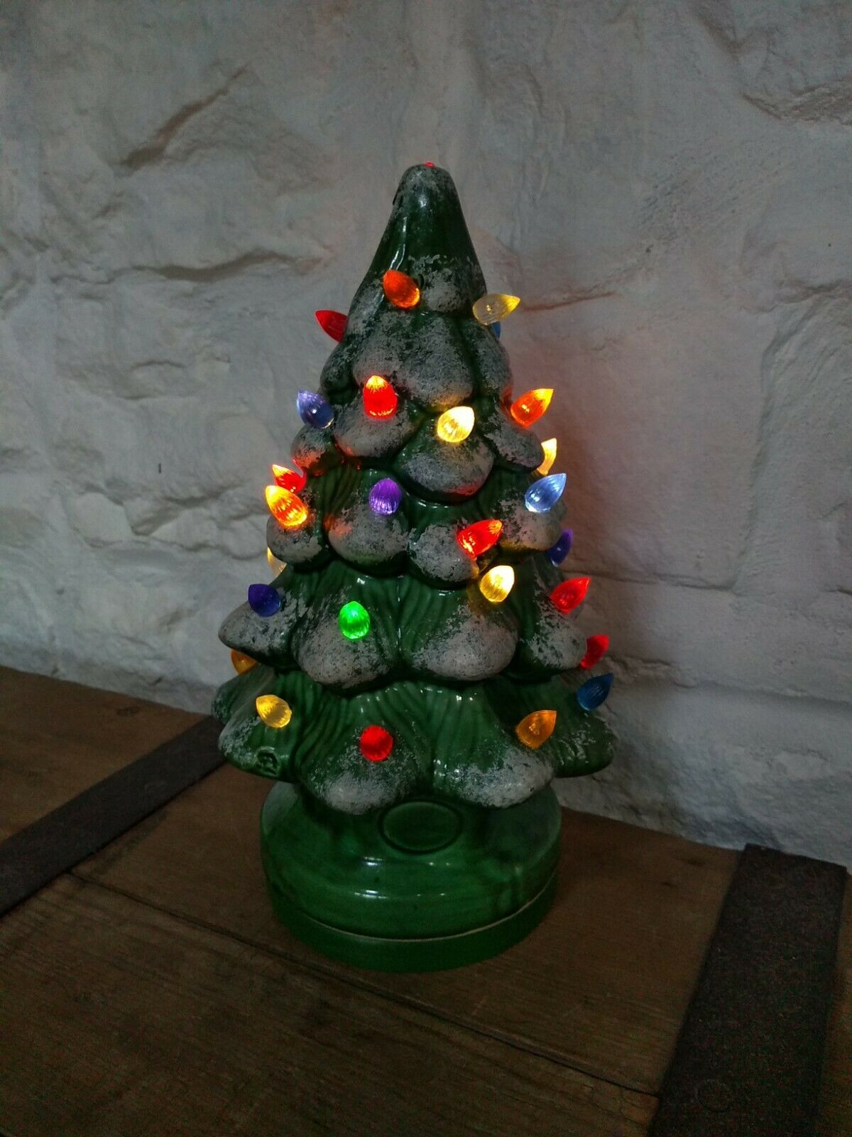 Vintage Ceramic Christmas Tree. Lamp Light Base Lights Up. Retro Xmas Decoration