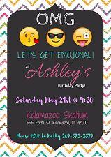 Emoji Theme Invitation Personalized, Custom, You Print!