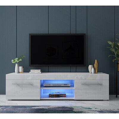 Fancy 135cm Tv Unit Cabinet Stand Matt Body And High Gloss Drawers Free Led Ebay
