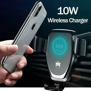 10W QI Wireless Fast Charger Car Mount Holder Stand For iPhone X XS Samsung S9