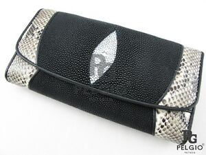 Details about PELGIO Real Genuine Stingray Python Snake Skin Leather Clutch  Wallet Purse Black