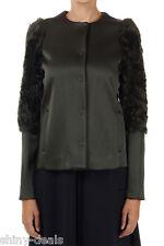 DROME New Woman Military Green Wool Blend Jacket Coat Size S Lamb Fur Inserts