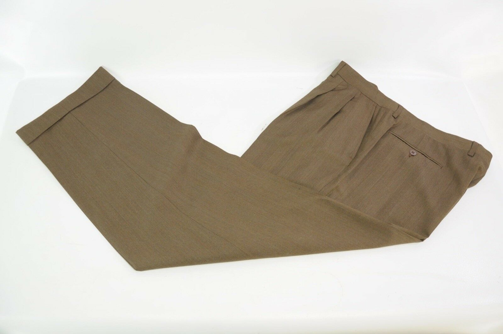 Luciano Barbera Solid Brown Herringbone Wool Made in  Pants Trousers 36 52