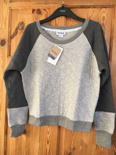 BNWT REEBOK Ladies Grey//Pale Grey Diamond Logo Top Size XS 4-6