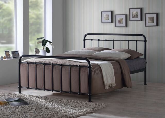 New Miami Traditional Hospital Style 4ft6 Double Black Metal Bed Frame *SALE*