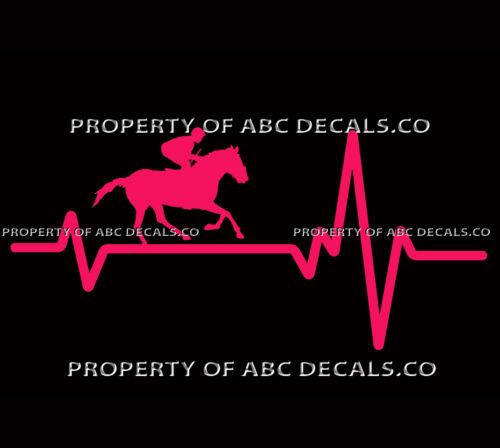 VRS Heart Beat Line HORSE JOCKEY Thoroughbred Race Bet Whip Out CAR VINYL DECAL