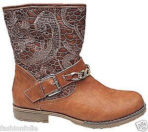 Détails sur Bottine femme dentelle motard talon carre zip Boots botte hiver NOUVEAUTÉ 8238