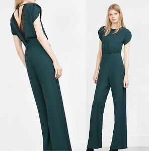 1365d4971b6 BNWT Genuine ZARA New SS 2016 DARK GREEN LONG JUMPSUIT REF 2013 346 ...