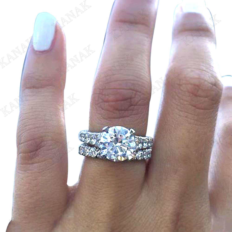 3.00 Ct Round Cut Diamond Women/'s Engagement Ring Set 14K White Gold Over