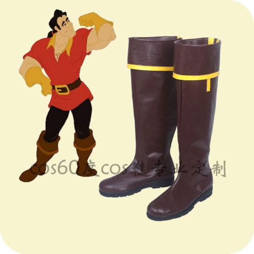 Hot!Beauty and the Beast Gaston Brown Boots Cosplay Shoes FF.28