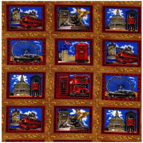 - 60cm x 112cm 66Small Panels Nutex London Scenes Cotton Quilting Fabric