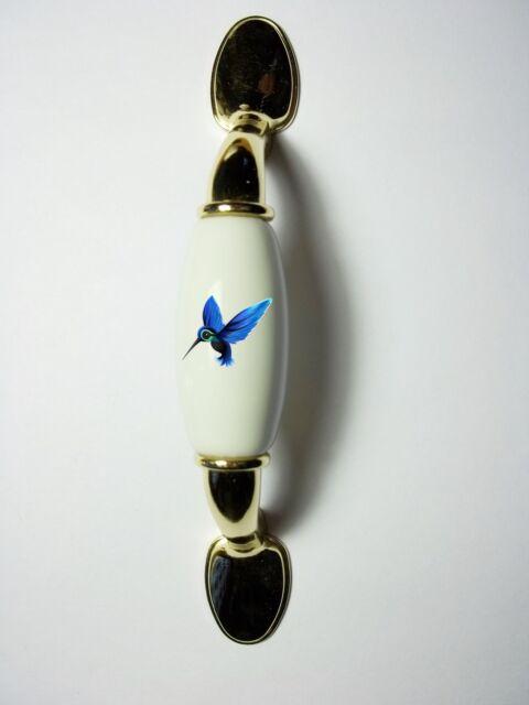 HUMMINGBIRD BLUE BIRD HOME DECOR CERAMIC KITCHEN DRAWER DOOR BRASS HANDLE PULL
