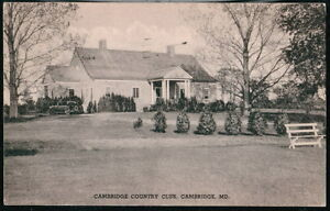 CAMBRIDGE-MD-Country-Club-Vintage-1938-Maryland-B-amp-W-Postcard-Old-PC