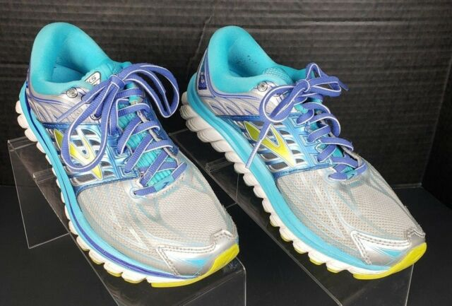 87273db60fbee BROOKS WOMEN S GLYCERIN 14 Running Shoes SZ 7 Grey Blue Lime  1202171  142